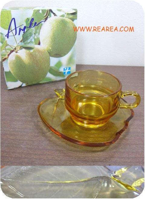 完売■ 曽我ガラス アップル カップ&ソーサー アンバー箱入り (SOGAリンゴりんご型*昭和レトロ雑貨