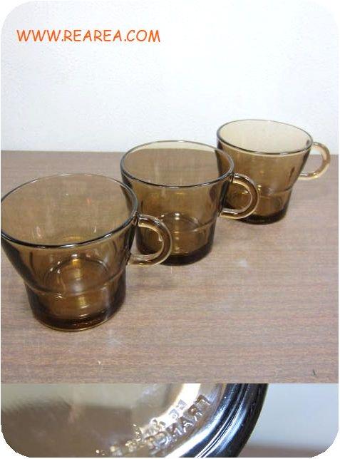 フランス製DURALEX   ガラスカップ3客セット デュラレックス u  (FRANCE*昭和レトロ雑貨