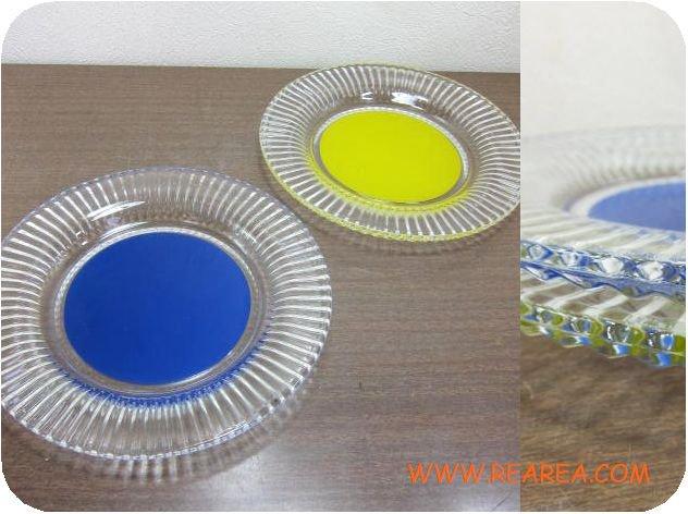 セール30%OFF ガラス製レトロな2カラー プレートセット19cmイエロー×ブルー(サラダ中皿*昭和レトロ雑貨