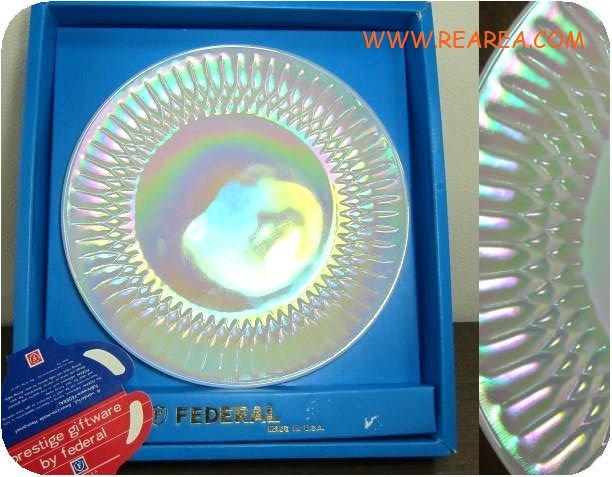 完売■ FEDERAL フェデラル社 ガラスプレート25㎝アメリカ食器 (USA製中皿*昭和レトロ雑貨