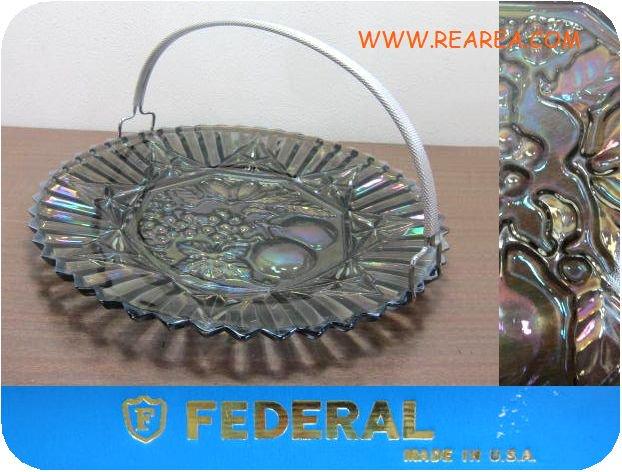 FEDERALフェデラル社 ガラスプレート29㎝ アメリカ食器 取っ手付き(大皿USA製*昭和レトロ雑貨