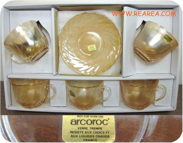 フランス製  arcoroc ガラス製カップ&ソーサー5客セット (FRANCE*昭和レトロ雑