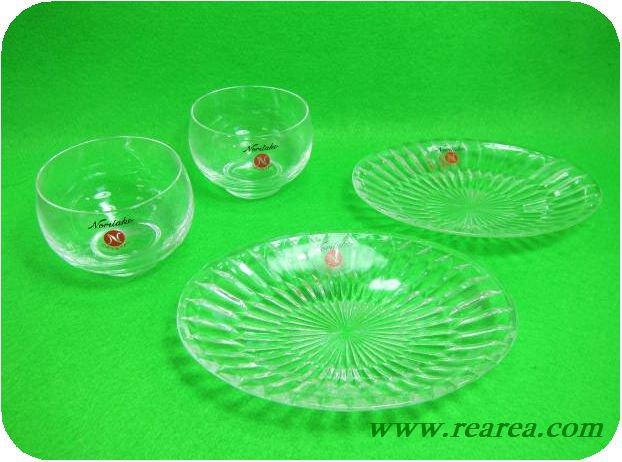 ノリタケクリスタル ペア冷茶グラス&ペアプレート  (Noritake中皿カットガラス〓昭和レ…