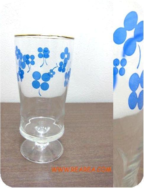 セール30%OFF  レトロ花柄  脚付グラス ブルー 四つ葉(タンブラーシャムロック*昭和レトロ雑貨