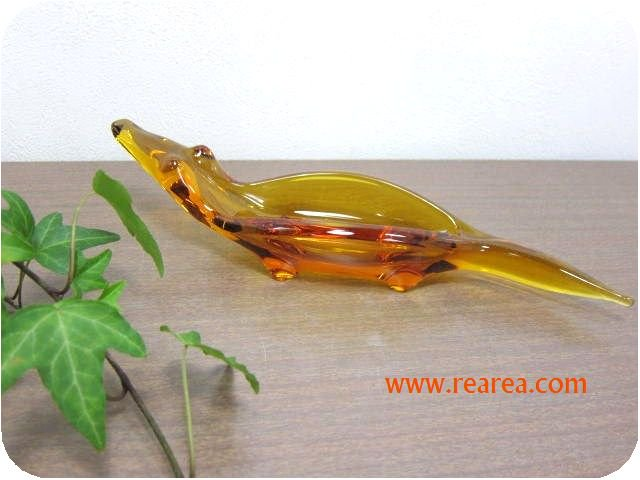 完売■ アンバーガラス 動物型プレート 29.5×7.7㎝ (置物 ガラス製小物*昭和レトロ食器