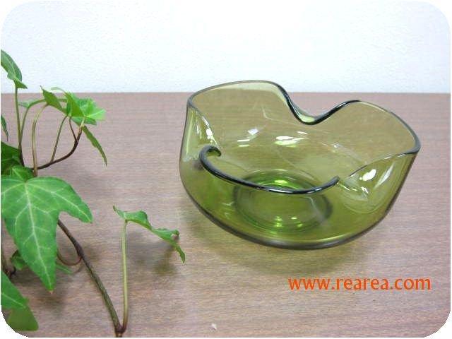 グリーンカラー ガラスボウル 6×13㎝ (シリアルボウル中鉢*昭和レトロ食器