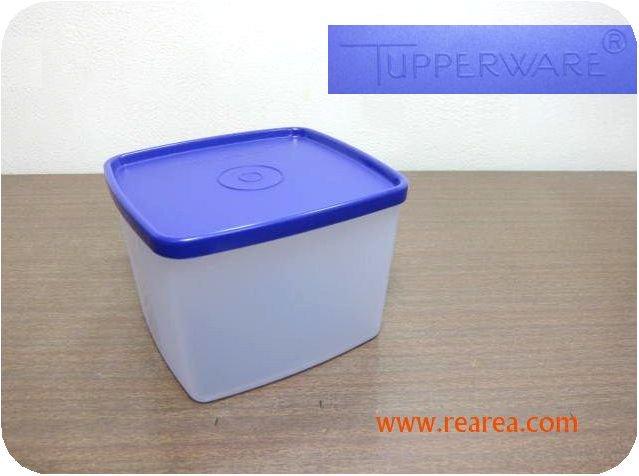 完売■ Tupperware パープル×クリア 角型 880ml  (タッパーウェア保存容器*昭和レトロ