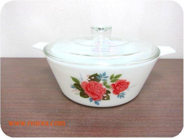 完売■JAJイギリス・パイレックス ミルクガラス耐熱鍋1.6L バラ花柄(ENGLAND PYREX*昭和レトロ