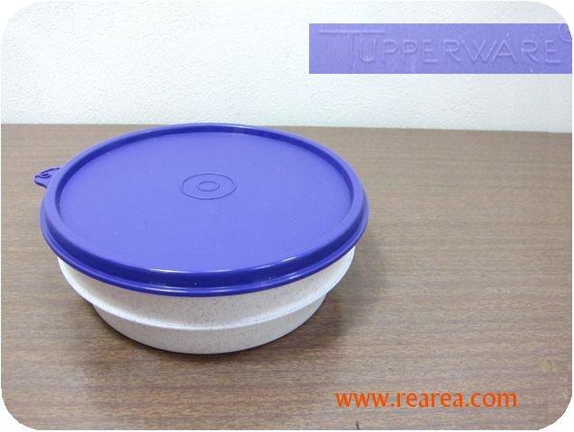 完売■ Tupperware 丸型ケース 高5×径15cm パープル500ml(タッパーウェア保存容器*昭和レトロ ∞