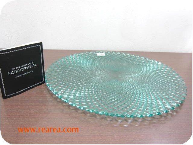 完売■HOYAクリスタル ガラスプレート31cm(大皿 保谷ガラス*昭和レトロ西欧
