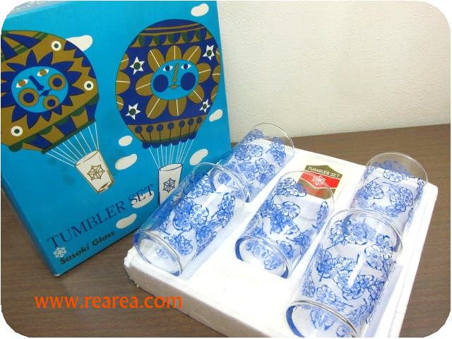 完売■ ササキグラス レトロな花柄 グラス5個セット(タンブラー*昭和レトロ雑貨