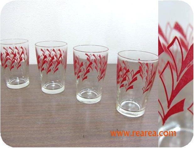完売■ レトロ柄 赤 りぼん グラス4個セット(タンブラー*昭和レトロ雑貨