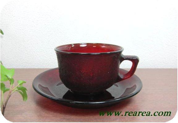 フランス製 シェラ Sierra 耐熱ガラス カップ&ソーサー レッド (赤デュラン社アンバー〓昭和レトロ雑貨キッ…