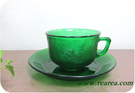◇フランス製 シェラ Sierra 耐熱ガラス カップ&ソーサー グリーン (緑デュラン社アンバー〓昭和レトロ雑貨キッ…