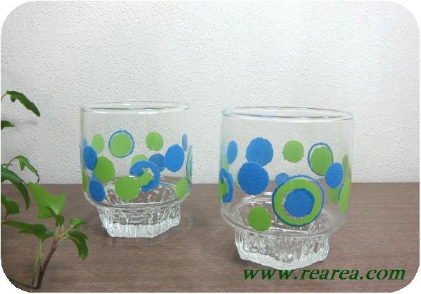 完売■ ササキガラス ローザンヌ ドット柄 ペアタンブラー (水玉ロックグラス〓昭和レトロ雑貨キッチン