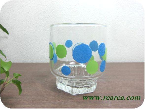 完売■ササキガラス ローザンヌ ドット柄 タンブラー (水玉ロックグラス〓昭和レトロ雑貨キッチン