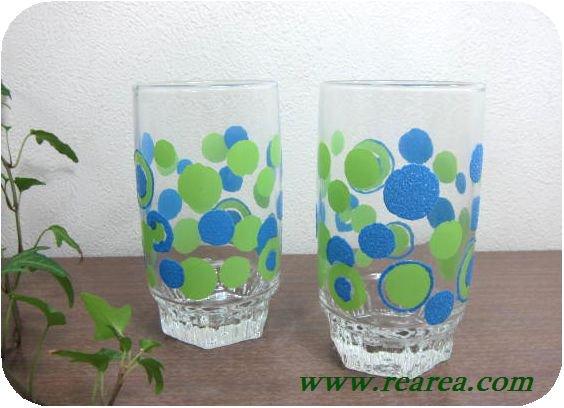 完売■ ササキガラス ローザンヌ ドット柄 ペアグラス (水玉タンブラー〓昭和レトロ雑貨キッチン