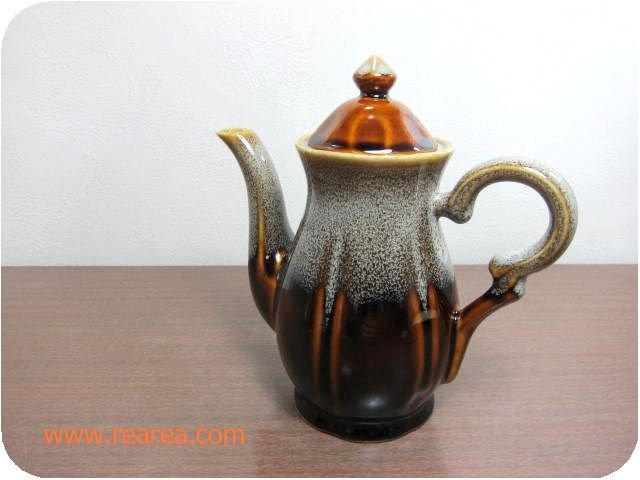Lend★ レトロなティーポット 陶器製サーバー 約450ml ブラウン(*昭和レトロ雑貨 鎌倉