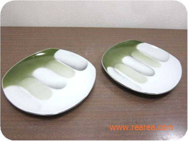 Sone China ペアプレート 15.5㎝ グリーン (ソネチャイナ陶器小皿*昭和レトロ