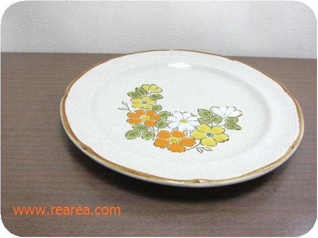 完売■ Baroque 花柄プレート 27㎝ (ストーンウェア陶器大皿*昭和レトロ