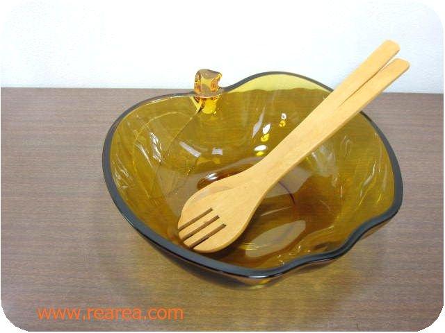 曽我ガラスアップル サラダボール大23㎝&木製スプ-ン・フォーク(林檎りんご大鉢*昭和レトロ雑貨