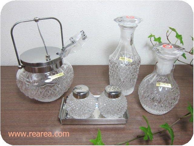 完売■KAMEI GLASS クリスタルモダンカットガラス製調味料入れ5点セット(醤油差しシュガーポット*昭和レ…