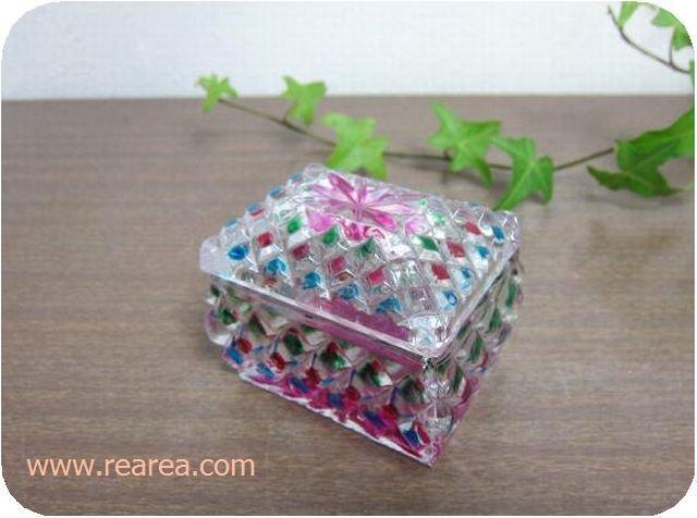 完売■かわいいガラスの小箱 6.5×5センチ  y(ジュエリーケースボックス*昭和レトロ雑貨