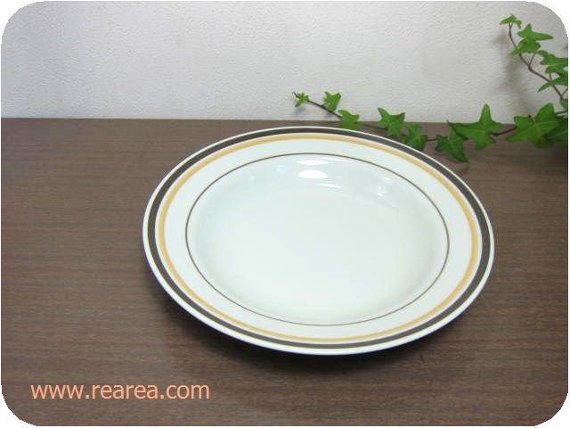 セール30%OFF  TONOプレート 23㎝ オレンジブラウンライン (ストーンウェア陶器大皿*昭和レトロ