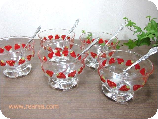 完売■TOYO東洋ガラス かわいいイチゴ柄アイスクリームカップ5客セット スプーン付き(いちご苺*昭和レ…