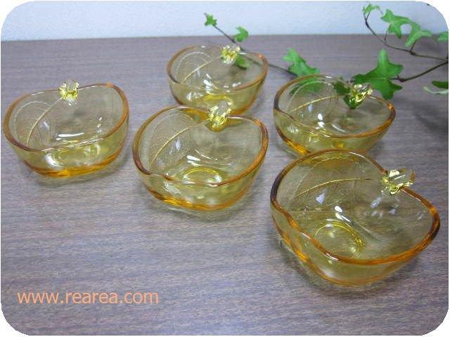完売■曽我ガラス りんごナッツボールセット アンバー5客 小鉢(アップル林檎ソガ*昭和レトロ食器