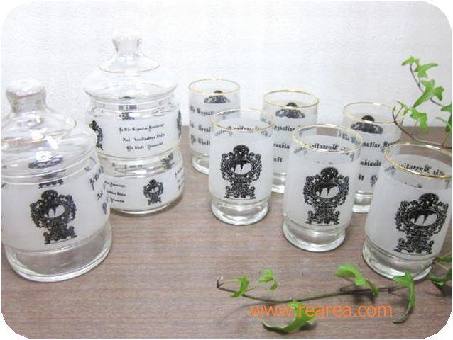セール30%OFF アデリアグラス 2段キャンディポット2点&グラス6点セット  (すりガラス*昭和レトロ雑貨