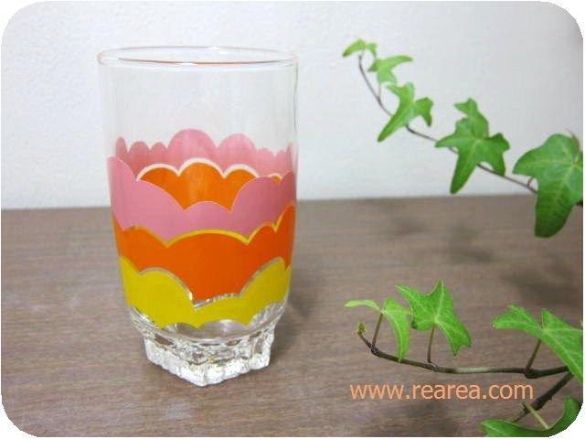ササキガラス レトロポップ柄 タンブラー ピンクオレンジイエロー(可愛いコップ*'昭和レトロ雑貨食器