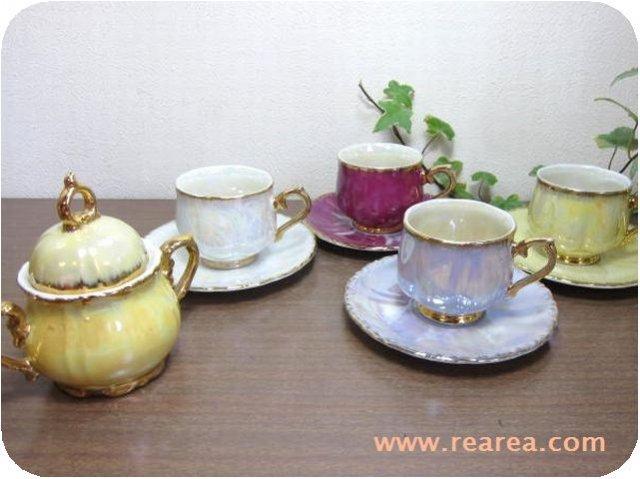 セール50%OFF パール加工 カップ&ソーサー4客&シュガーポット 陶器セット (*昭和レトロ雑貨
