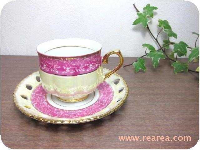 完売■ CHERRY カップ&ソーサー パールピンク花柄(コーヒーカップ陶器*昭和レトロ雑貨