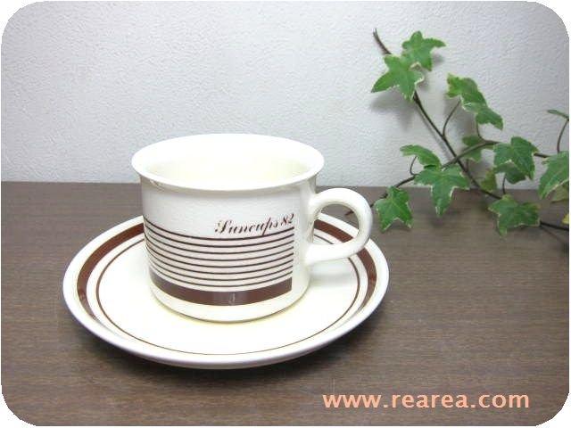 American カップ&ソーサー ブラウンライン(コーヒーカップ陶器*昭和レトロ雑貨