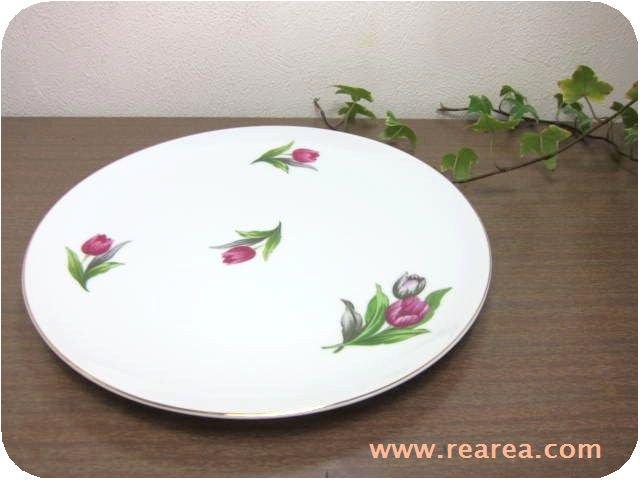 セール30%OFF チューリップ柄 花柄 陶器プレート 23.5センチ (ストーンウェア大皿*昭和レトロ食器
