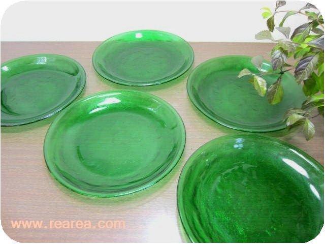 完売■sierraフランス製 arcoroc ガラスプレート19センチ 5枚セットグリーン (中皿*昭和レトロ食器