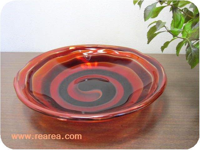 完売■FTG ガラスプレート27センチ MULTIPLE LAYER GLASS (大皿*昭和レトロ食器
