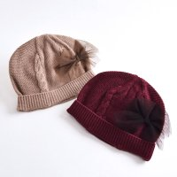 【50%OFF!】チュールリボンニット帽(2823308)/S・M