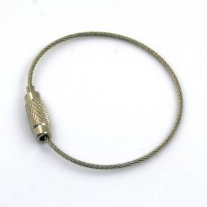 キーホルダー金具ワイヤー 40mm (ニッケルカラー)