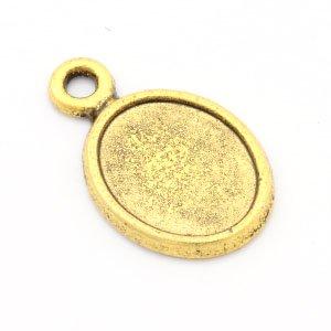 レジン セッティング・ミール皿 ミニ楕円 金古美 (アウトレット) 5個セット