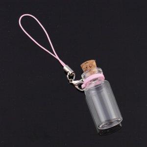 コルク瓶 円筒大ガラスビンリングタイプ ストラップ付 カニカンタイプ ピンク