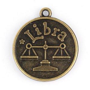 メタルチャーム 星座 大  金古美カラー 天秤座(てんびんざ)LIBRA