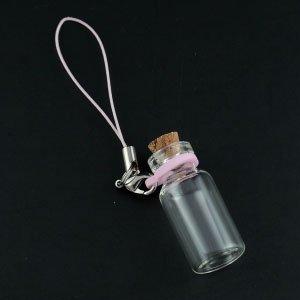 コルク瓶 円筒大ガラスビンリングタイプ ストラップ付 カニカンタイプ(2) ピンク
