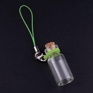 コルク瓶 円筒大ガラスビンリングタイプ ストラップ付 カニカンタイプ(2) グリーン