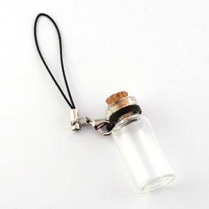 コルク瓶 円筒大ガラスビンリングタイプ ストラップ付 カニカンタイプ(2) ブラック