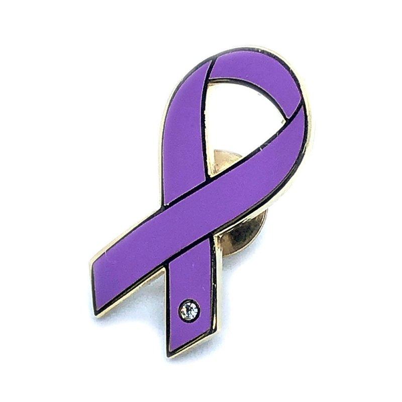 【リボンピンバッジ】パープルリボン 女性への暴力の根絶、膵臓がんの啓発と撲滅