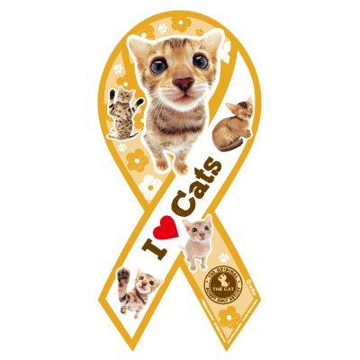 THE CAT リボンマグネット(イエロー)アビシニアン&ベンガル
