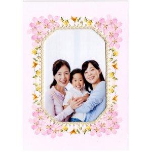 手作りフラワーフレーム 写真入れ2Lサイズ八角形 ピンク色さくら 実用新案登録