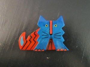 Pavone 青とオレンジのデコネコのブローチ(S7425)